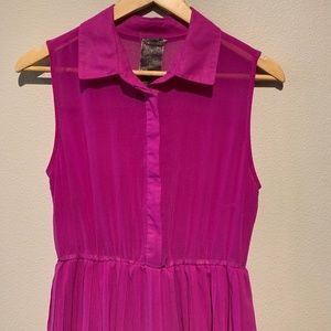Moon Collection Dresses - Moon Collection fuchsia sleeveless pleated dress